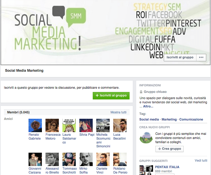 Social Media marketing gruppo Facebook